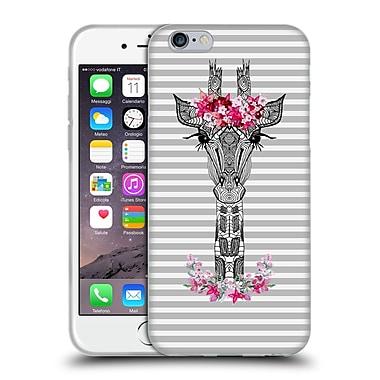 Official Monika Strigel Flower Giraffe And Stripes Grey Soft Gel Case For Apple Iphone 6 / 6S