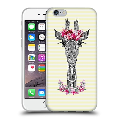 Official Monika Strigel Flower Giraffe And Stripes Yellow Soft Gel Case For Apple Iphone 6 / 6S