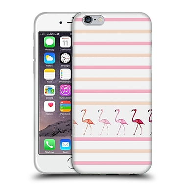 Official Monika Strigel Flamingos And Stripes Pink Duo Soft Gel Case For Apple Iphone 6 / 6S