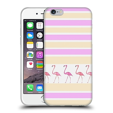 Official Monika Strigel Flamingos And Stripes Pink Soft Gel Case For Apple Iphone 6 / 6S