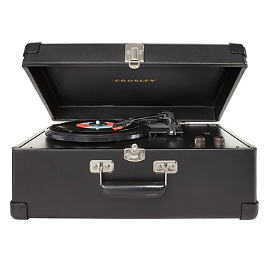 Crosley CR49-BK Traveler Turntable with Stereo Speakers and Adjustable Tone Control, Black