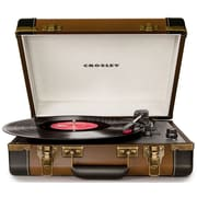 Crosley CR6019A-BR Executive Portable USB Turntable with Software for Ripping & Editing Audio, Brown & Black