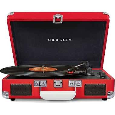 Crosley CR8005D-RE Cruiser Deluxe Portable 3-Speed Turntable with Bluetooth, Red