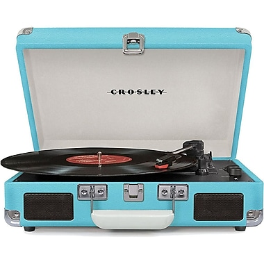 Crosley CR8005D-TU Cruiser Deluxe Portable 3-Speed Turntable with Bluetooth, Turquoise