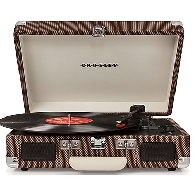Crosley CR8005D-TW Cruiser Deluxe Portable 3-Speed Turntable with Bluetooth, Tweed