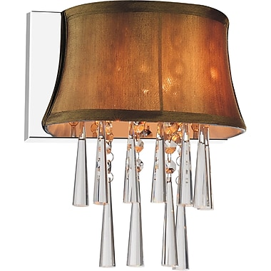 CrystalWorld Audrey 1-Light Wall Sconce; Brown