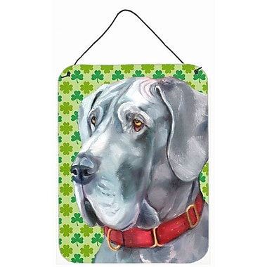 East Urban Home St. Patrick's Day Shamrock Print on Plaque; Great Dane (Grey)