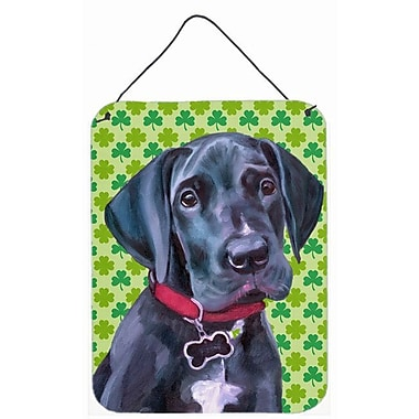 East Urban Home St. Patrick's Day Shamrock Print on Plaque; Black Great Dane Puppy