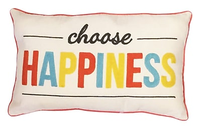The Balmont Collection ''Choose Happiness'' Cotton Lumbar Pillow