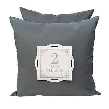 Home Accent Pillows Solid Outdoor Throw Pillow (Set of 2); Gray