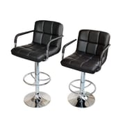 Calhome Adjustable Height Swivel Bar Stool (Set of 2); Black