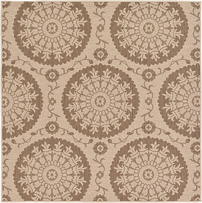Charlton Home Foreside Beige Outdoor Area Rug; Square 6'