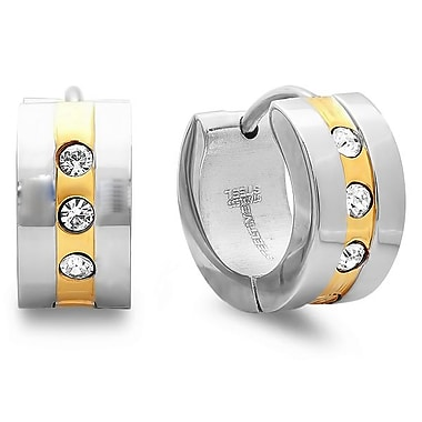 HMY Jewelry Stainless Steel & 18k Gold Plated CZ Huggie Earrings, 20mm, Two Tone