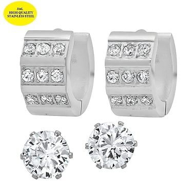 HMY Jewelry Stainless Steel Set of 2 CZ Stud & CZ Set Huggie Earrings, 6mm Stud 14mm Huggie, Silver