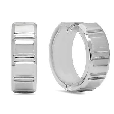 HMY Jewelry Stainless Steel Striped Huggie Earrings, 20mm, Silver