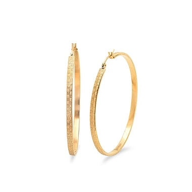 HMY Jewelry 18k Gold Plated Stainless Steel Textured Hoop Earrings, 55mm, Yellow