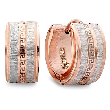 HMY Jewelry 18k Rose Gold Plated Stainless Steel Greek Key Huggies, 14mm, Rose
