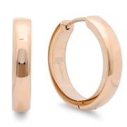 HMY Jewelry 18k Rose Gold Plated Stainless Steel Huggie Earrings, 16mm, Rose