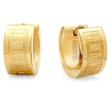HMY Jewelry 18k Gold Plated Stainless Steel Roman Numeral Huggies, 14mm, Yellow