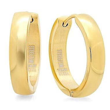 HMY Jewelry 18k Gold Plated Huggie Earrings, 16mm, Yellow