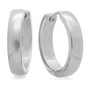 HMY Jewelry Stainless Steel Huggie Earrings, 16mm, Silver