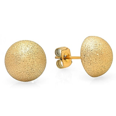 HMY Jewelry 18k Gold Plated Stainless Steel Hammered Half Ball Stud Earrings, 9mm, Yellow