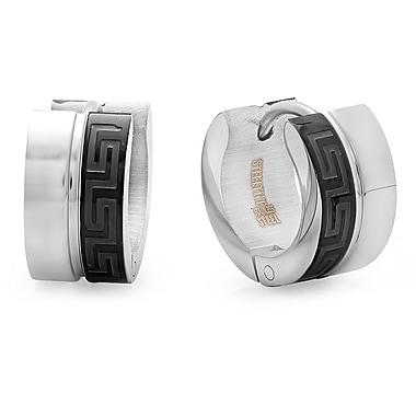 HMY Jewelry Stainless Steel & Black IP Greek Key Huggie Earrings, 10mm, Two Tone