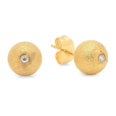 HMY Jewelry 18k Gold Plated Stainless Steel CZ Eye Stud Earrings, 8mm, Yellow