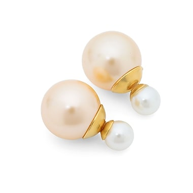 HMY Jewelry 18k Gold Plated Stainless Steel Peach & White Double Sided Simulated Pearl Earrings, 16mm + 8mm, Multi