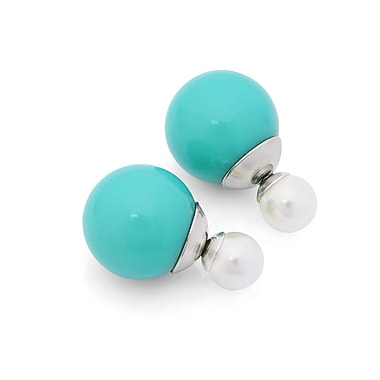 HMY Jewelry Stainless Steel Blue & White Double Sided Simulated Pearl Earrings, 16mm + 8mm, Multi