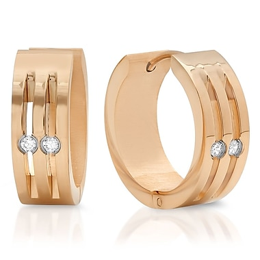 HMY Jewelry 18k Rose Gold Plated Stainless Steel CZ Dotted Hoops, 20mm, Rose