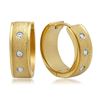 HMY Jewelry 18k Gold Plated Stainless Steel CZ & Glitter Hoop Earrings, 20mm, Yellow