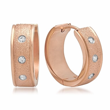 HMY Jewelry 18k Rose Gold Plated Stainless Steel CZ & Glitter Hoop Earrings, 20mm, Rose