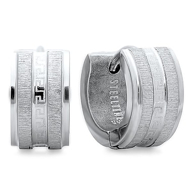HMY Jewelry Stainless Steel Greek Key Accented Huggies, 14mm, Silver