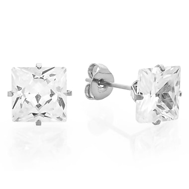 HMY Jewelry Stainless Steel Square CZ Stud Earrings, 6mm, Silver