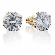 HMY Jewelry 18k Gold Plated Stainless Steel CZ Round Stud Earrings, 8mm, Yellow