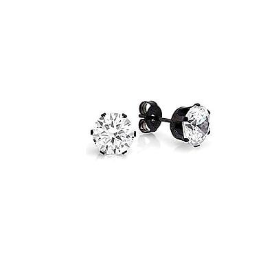 HMY Jewelry – Boucles d'oreilles clou rond en acier inoxydable noir, 6mm, noir