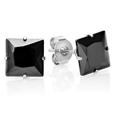HMY Jewelry Black IP Stainless Steel CZ Square Stud Earrings, 8mm, Black