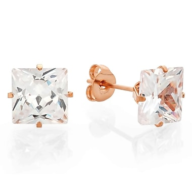 HMY Jewelry 18k Rose Gold Plated Stainless Steel CZ Square Stud Earrings, 6mm, Rose