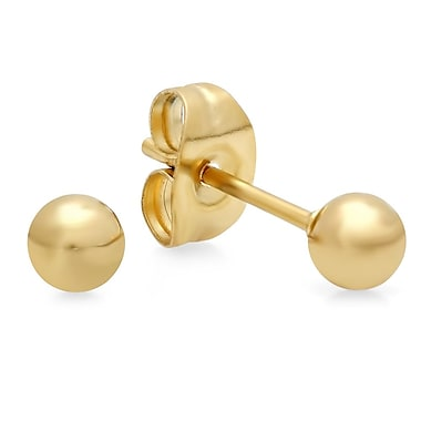 HMY Jewelry 18k Gold Plated Stainless Steel Ball Stud Earrings, 4mm, Yellow