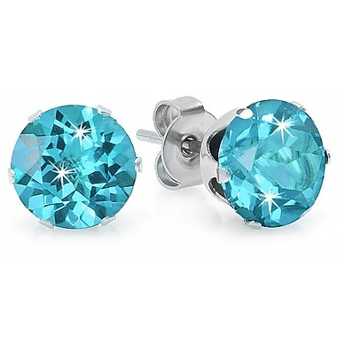 HMY Jewelry Stainless Steel Blue CZ Round Studs, 6mm, Silver