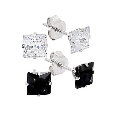HMY Jewelry Stainless Steel Set of 2 White & Black Square CZ Stud Earrings, 6mm, Silver