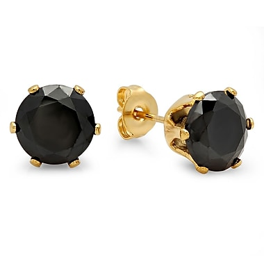 HMY Jewelry 18k Gold Plated Stainless Steel Black CZ Round Stud Earrings, 6mm, Yellow