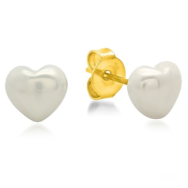 HMY Jewelry 18k Gold Plated Stainless Steel Simulated Pearl Heart Stud Earrings, 8mm, Yellow