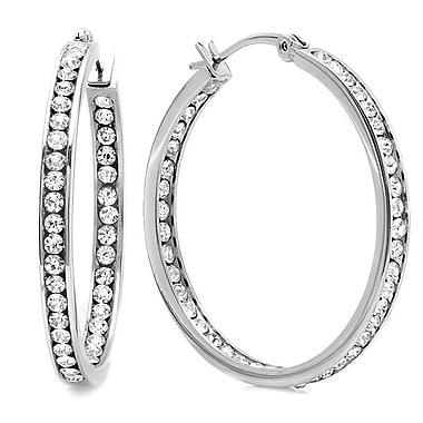 HMY Jewelry Stainless Steel CZ In & Out Hoop Earrings, 50mm, Silver