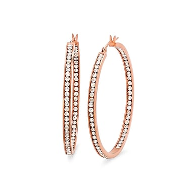 HMY Jewelry 18k Rose Gold Plated Stainless Steel CZ In & Out Hoop Earrings, 40mm, Rose