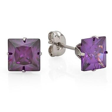 HMY Jewelry Stainless Steel Purple CZ Square Stud Earrings, 8mm, Silver