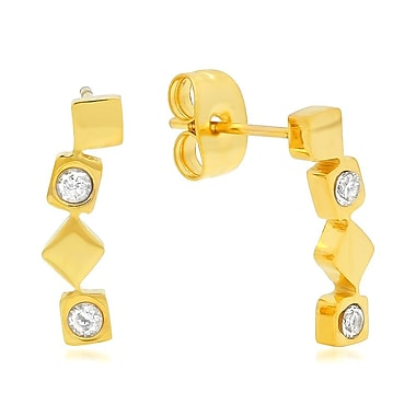 HMY Jewelry 18k Gold Plated Stainless Steel CZ Geometric Ear Climber, 0.5