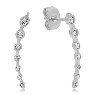 HMY Jewelry Stainless Steel CZ Delicate Ear Climber, 0.8