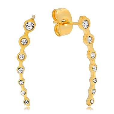 HMY Jewelry 18k Gold Plated Stainless Steel CZ Delicate Ear Climber, 0.8
